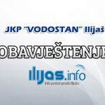 """Obavještenje iz JKP """"Vodostan"""" Ilijaš"""