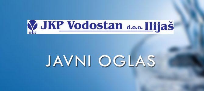 """Dopuna Javnog oglasa za prijem radnika u radni odnos u JKP """"Vodostan"""" d.o.o. Ilijaš"""